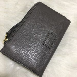 Fossil Gray Pebbled Leather Bifold Wallet EIC